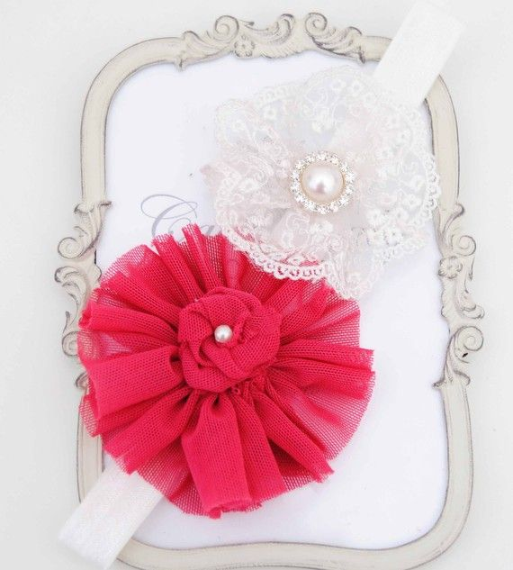 Nuevo Rouge brillo color flor con flores de encaje elástico Hadband y diamantes de imitación