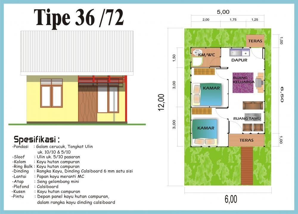 denah rumah type 36 minimalis ide buat rumah pinterest
