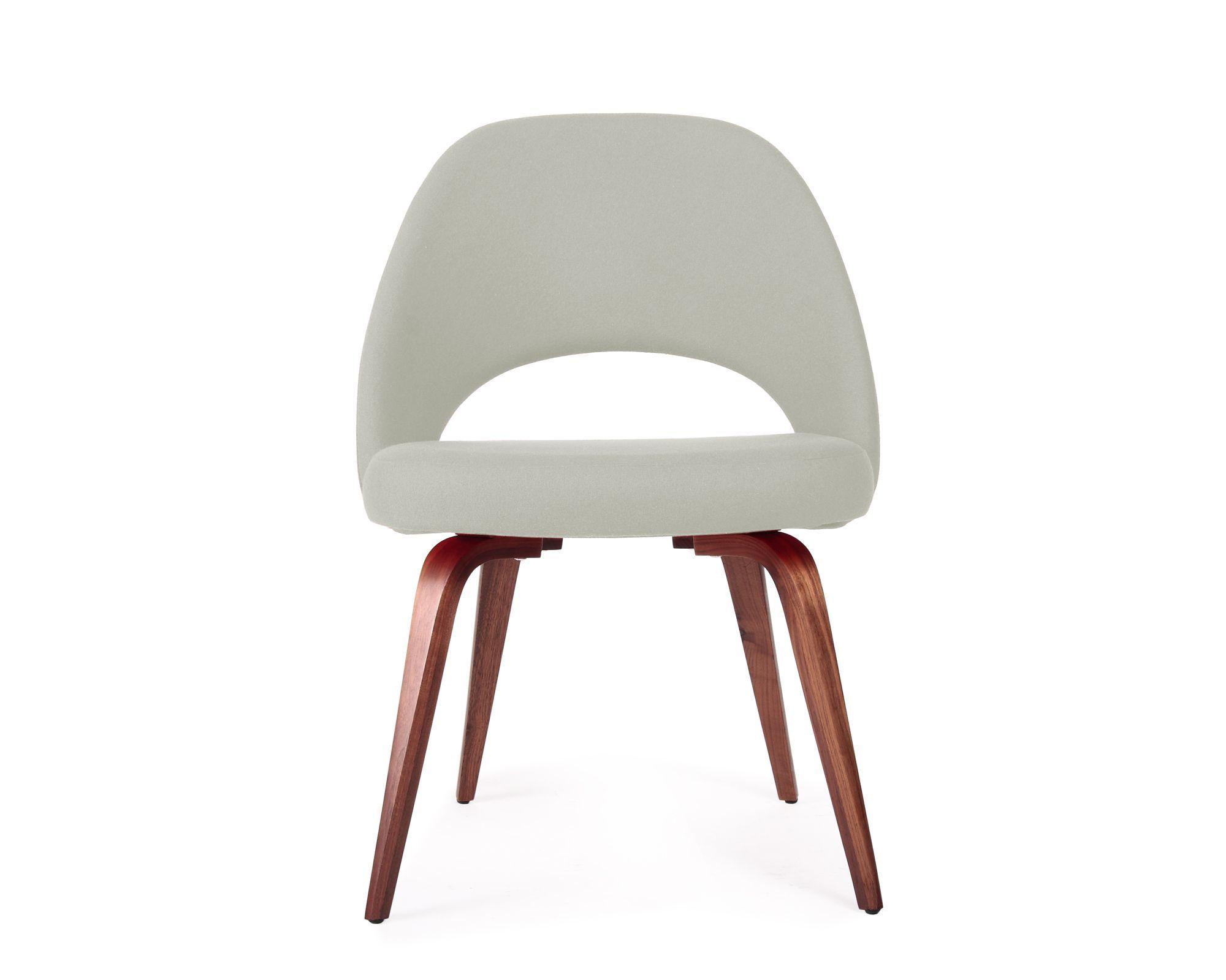 Saarinen Executive Side Chair_Wood_Cashmere Wool_Smoky Quartz