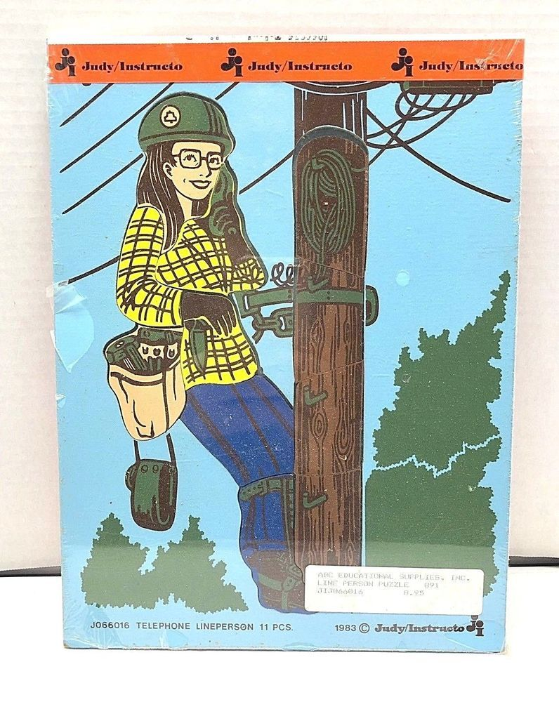 Vintage 1983 Judy Instructo Women Telephone Line Person Wood Puzzle