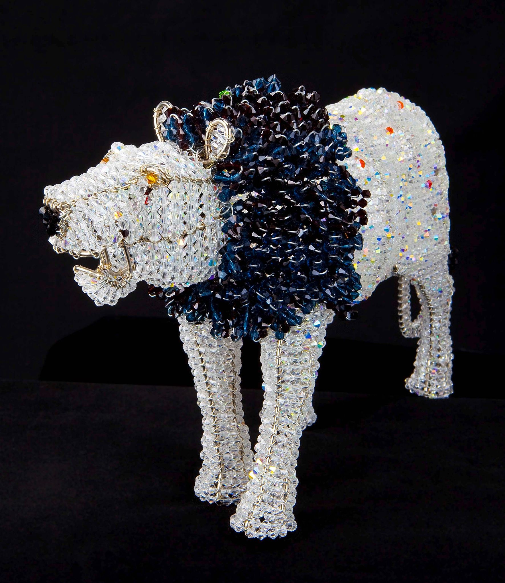 $1800 Swarovski Crystal Bead and Wire Lion | African Creative Bead ...