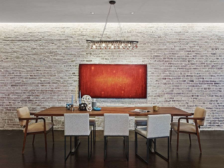 Industrial Minimal Dining Room With A Whitewashed Brick Wall Backdrop Decoist White Brick Walls Brick Wall Backdrop White Wash Brick
