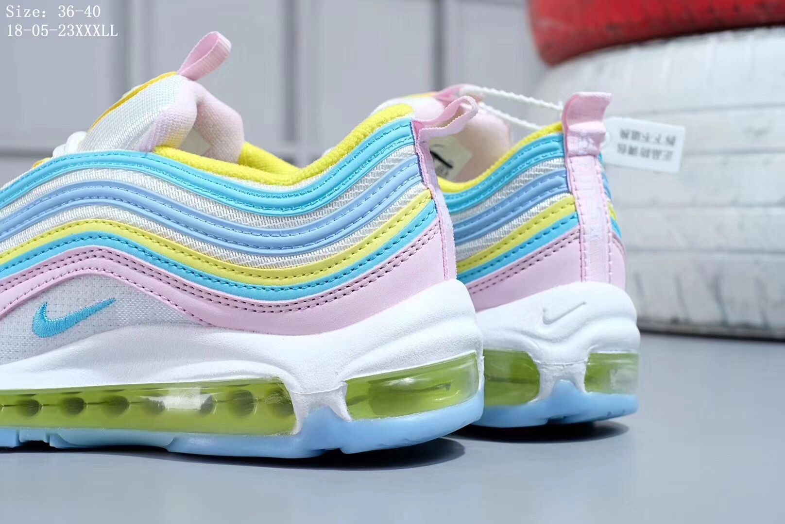 Nike Air Max 97 Pink White Yellow Green Candy Colorful Rainbow Shoes 921826 016