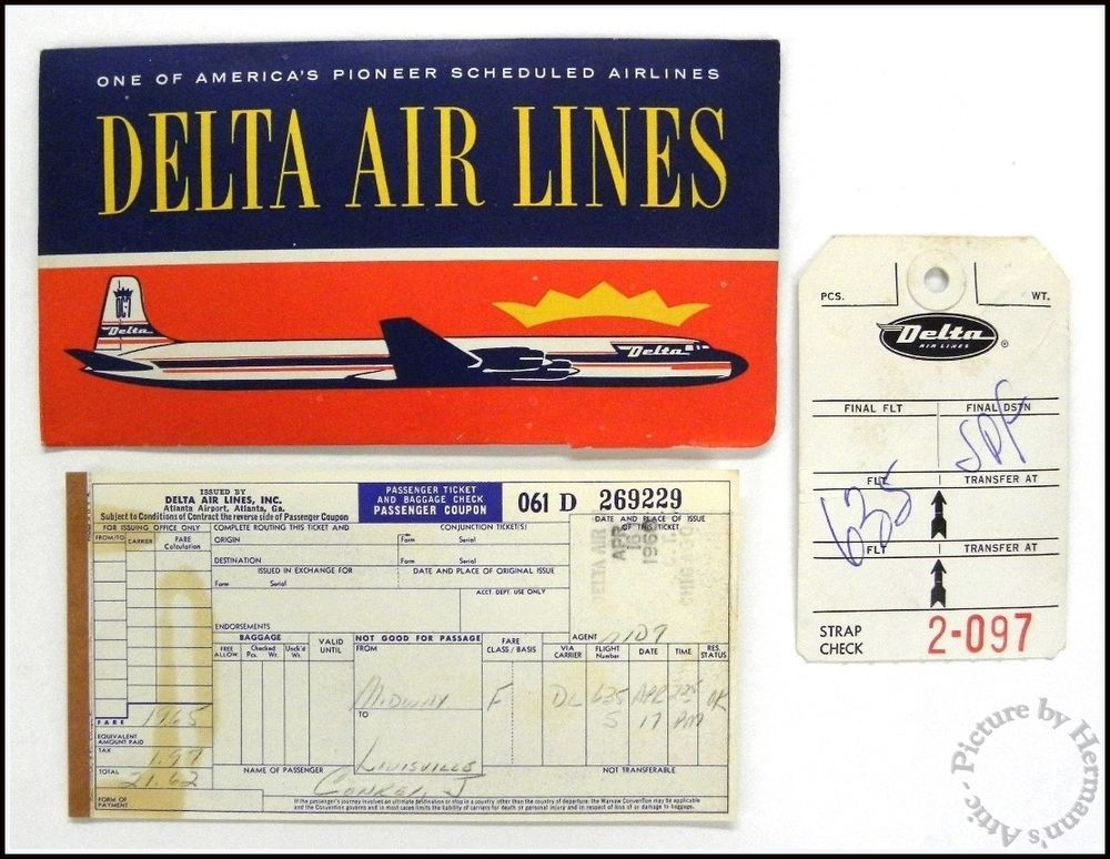 Delta Air Lines 1960 S Vintage Ticket Jacket Boarding Pass Dated April 1960 Delta Airlines Delta Boarding Pass