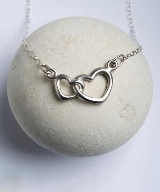 Sterling Silver Hearts Linked Pendant Necklace