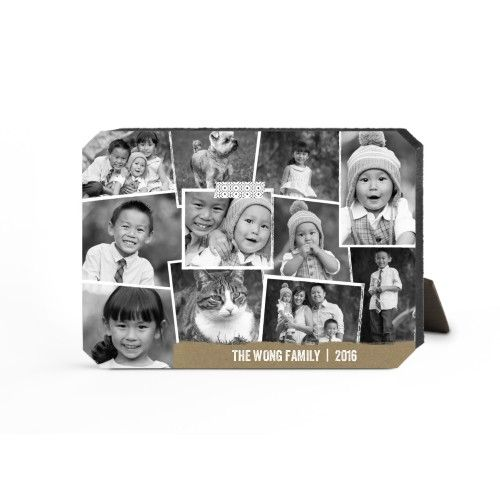 Craft Collage Desktop Plaque, Ticket, 5 x 7 inches, Beige