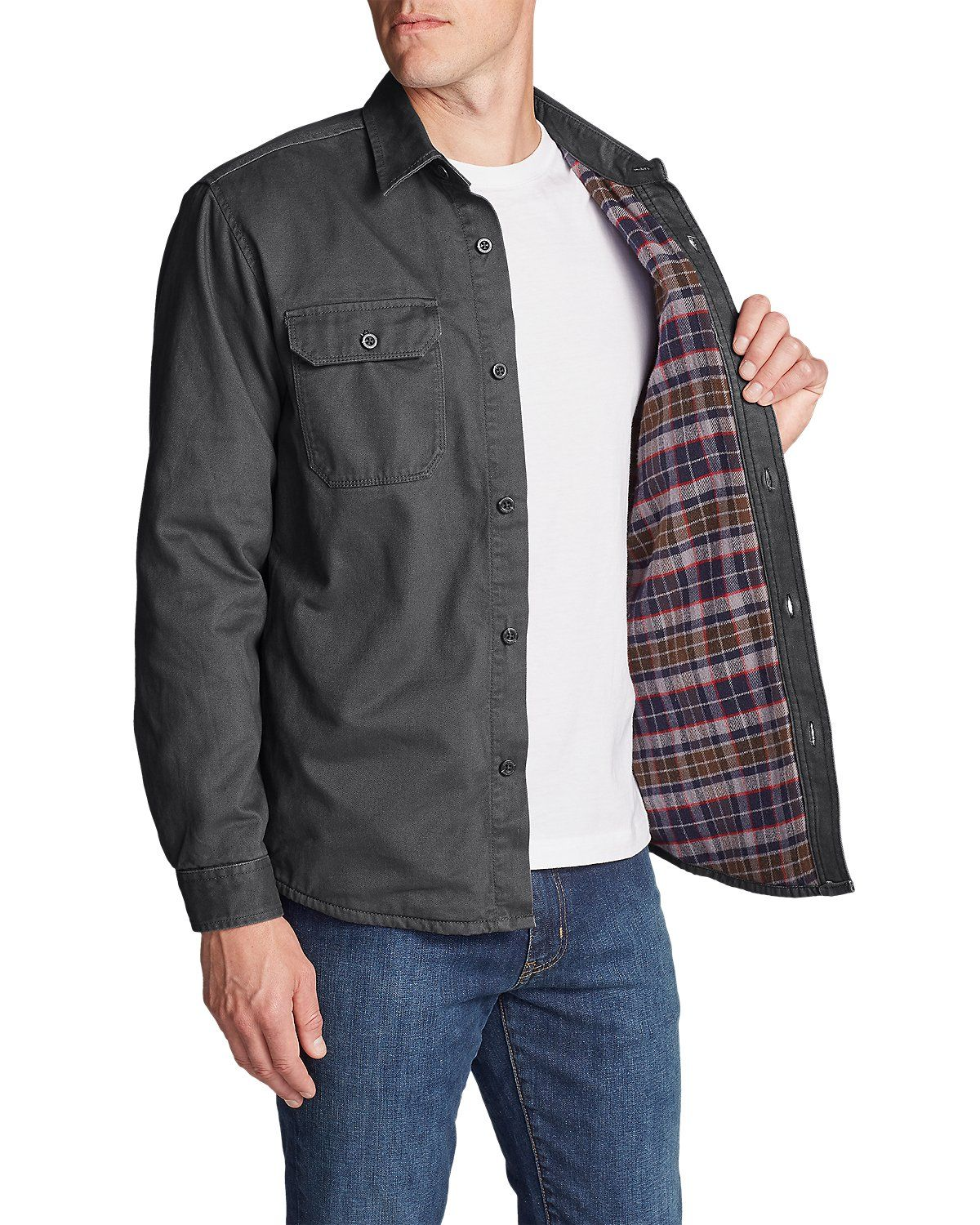 2bd738a462 Men s Legend Wash Flannel-Lined Shirt Jacket