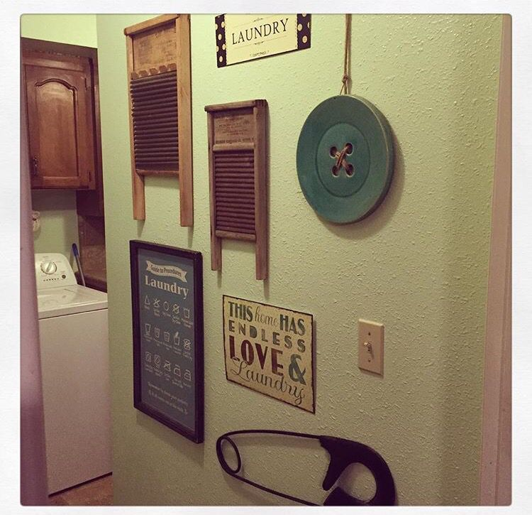 My Laundry Room Wall Started With Two Vintage Washboards That