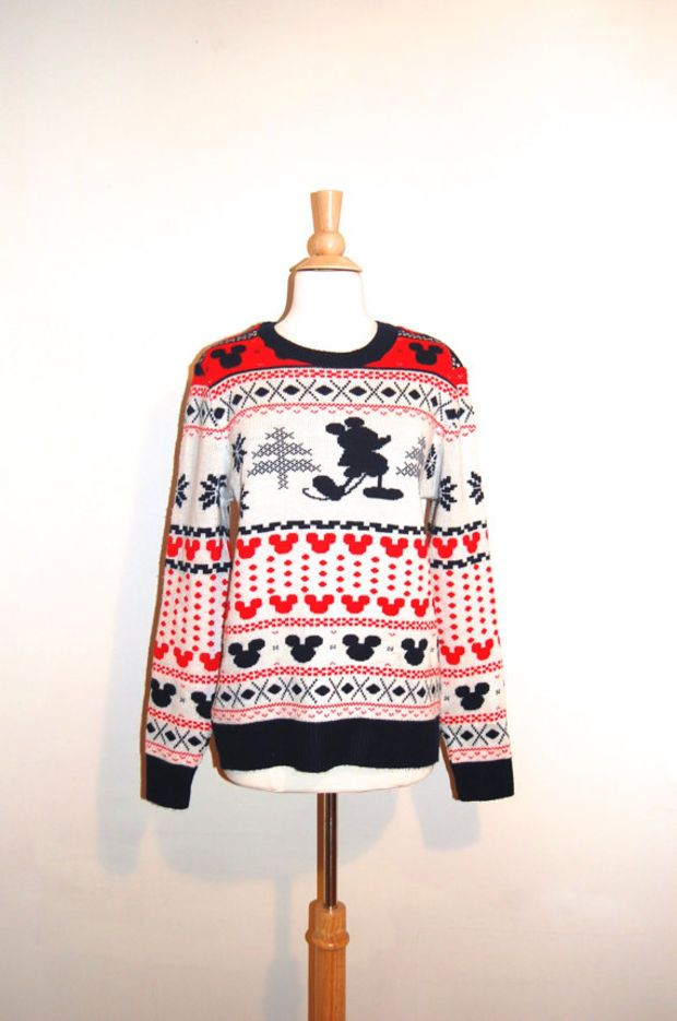 mickey mouse sweater vintage disney christmas tacky sweater red navy rare size large - Mickey Mouse Christmas Sweater