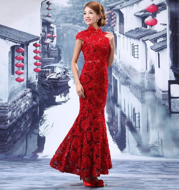 Chinese Bridal Gown Floral Delicate Embroidered Modified Qipao ...