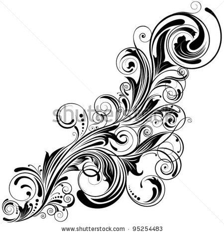 swirl corner black designdetailed floral design ornaments tattoo ideas d pinterest brush. Black Bedroom Furniture Sets. Home Design Ideas