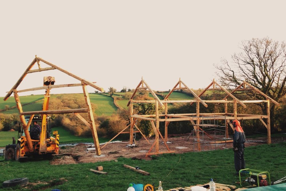 Erecting Timber Frame Self Build Eco Barn The Final Bent Being Lifted Into Place