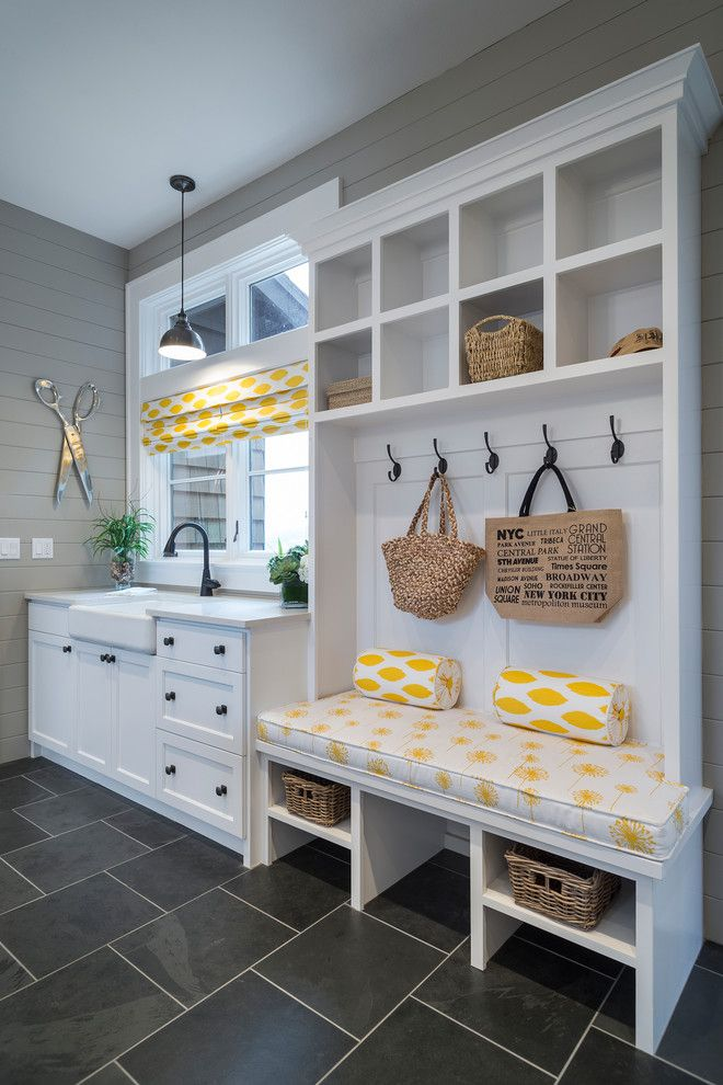 White Wicker Baskets Entry Transitional with Baskets Black Tile Floor Bolsters Built in Cabinetry Built in Bench Seat Coat