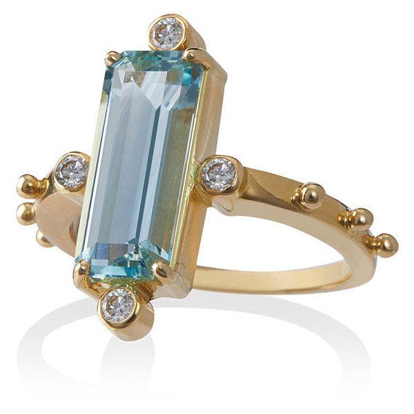 18k gold ring with aquamarine and diamond Jessie Western vspkN7tw2