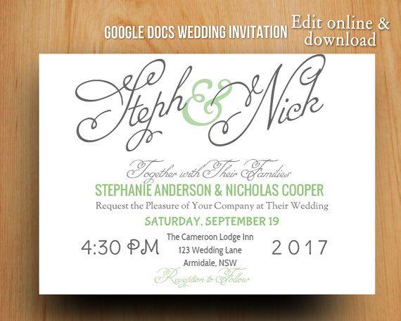 DIY Google Docs printable modern wedding invitation by GTemplates ...
