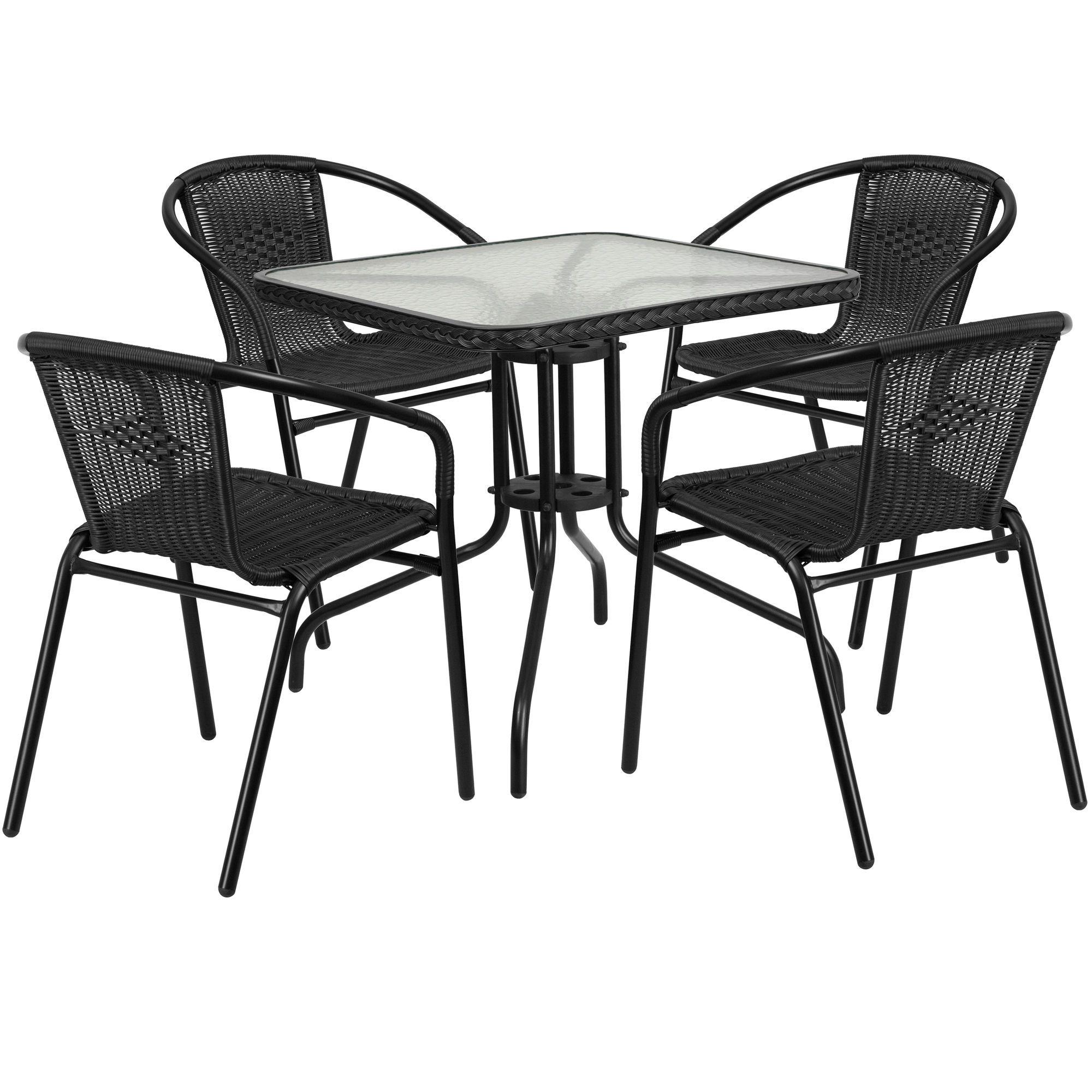 flash furniture aluminum and rattan commercial indoor-outdoor restaurant stack chair