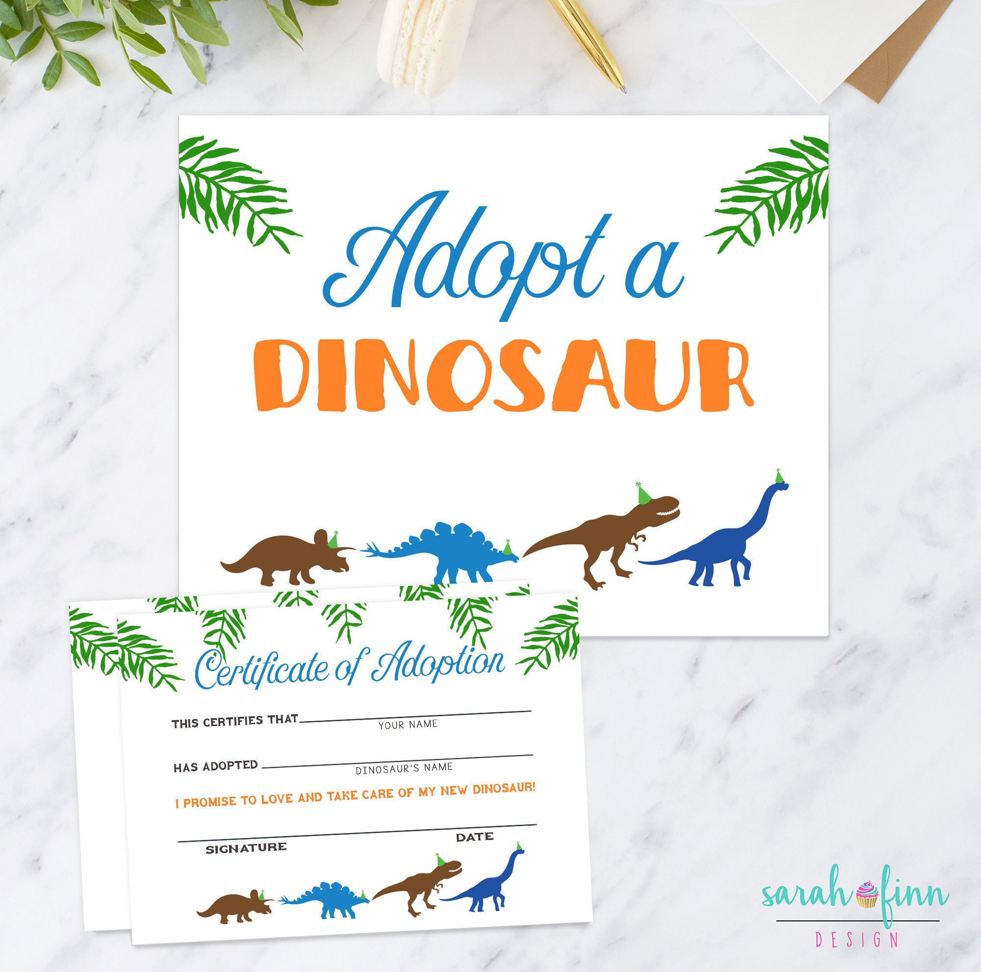 Adopt A Dinosaur Printable Sign And Certificate Boy Modern Etsy Dinosaur Printables Dino Birthday Party Dino Birthday