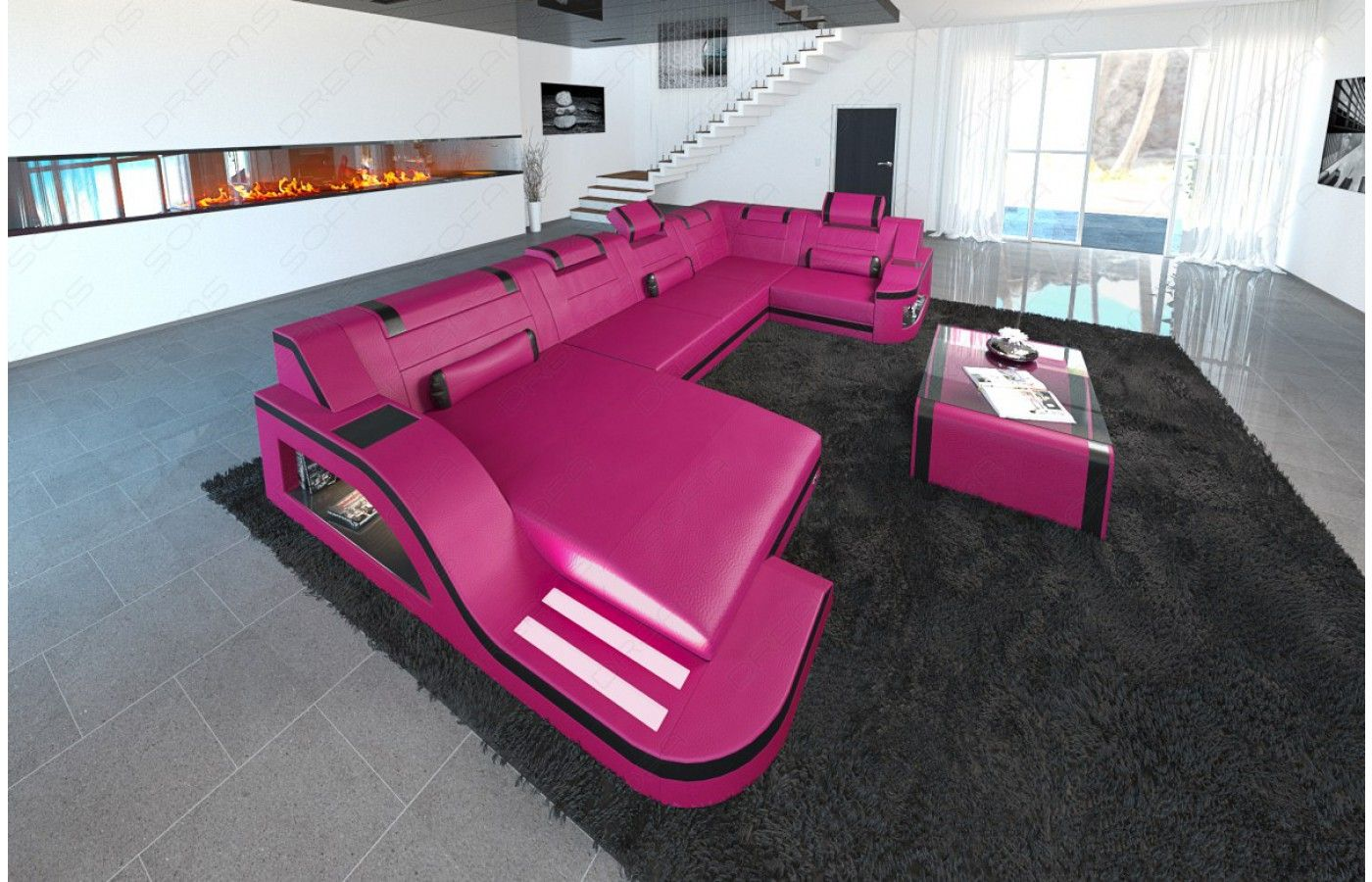 Design wohnlandschaft  Design #Wohnlandschaft PALERMO U Form mit #LED - Exklusiv bei ...