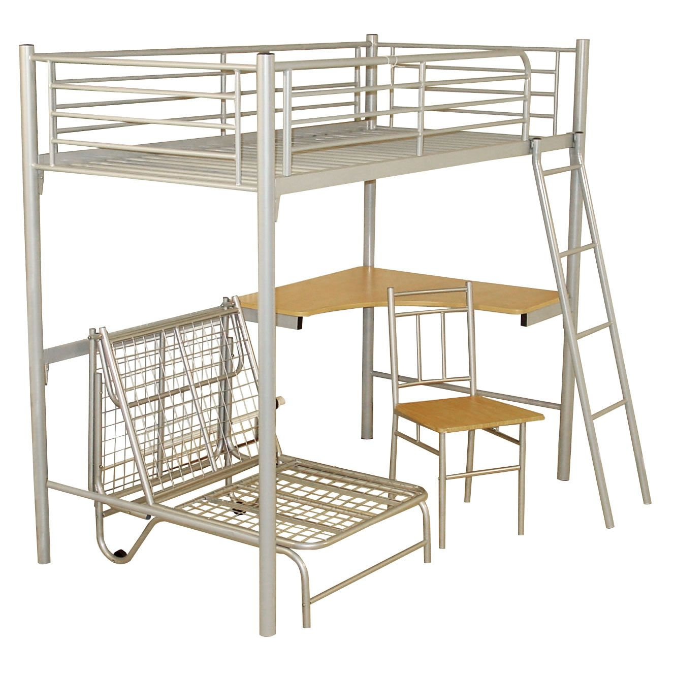 Study Bunk Bed Frame With Futon Chair Worldstores Flosbo Bedroom