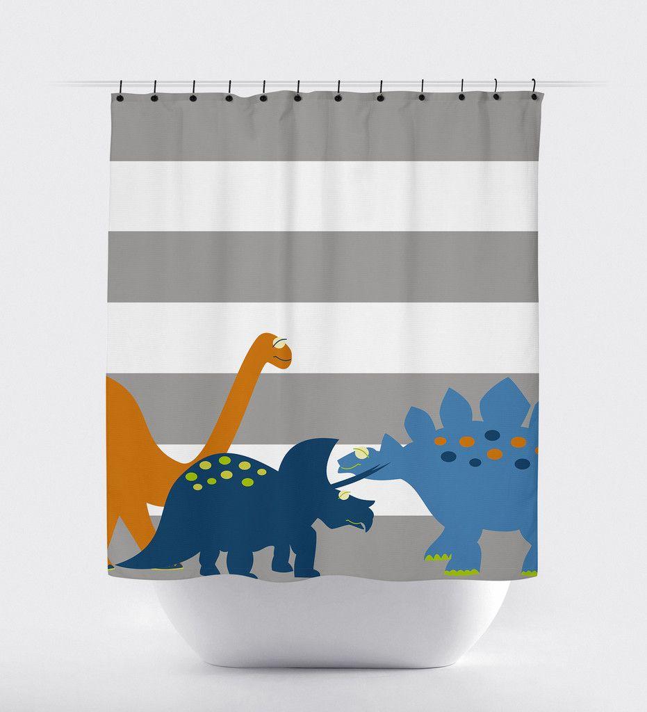 Gray Striped Dinosaur Shower Curtain Print Art Shoppe Shower