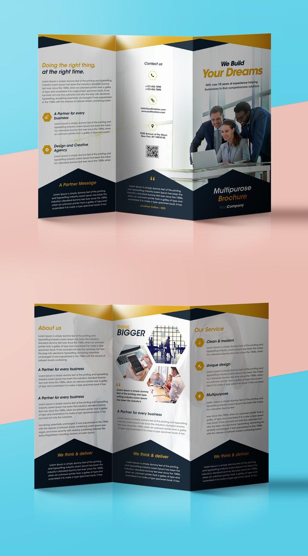 corporate tri fold brochure template free psd download.html