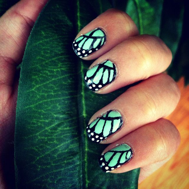Butterfly Nails Mint Green Green Nails Mint Nails Butterfly Nail
