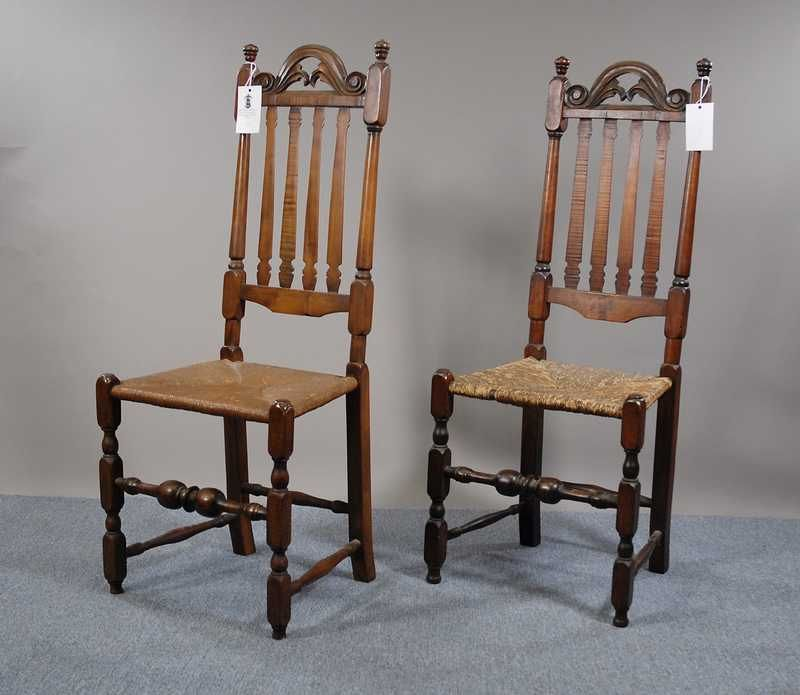 18th c New Hampshire curly maple bannister backside chairs with carved  crests - 18th C New Hampshire Curly Maple Bannister Backside Chairs With