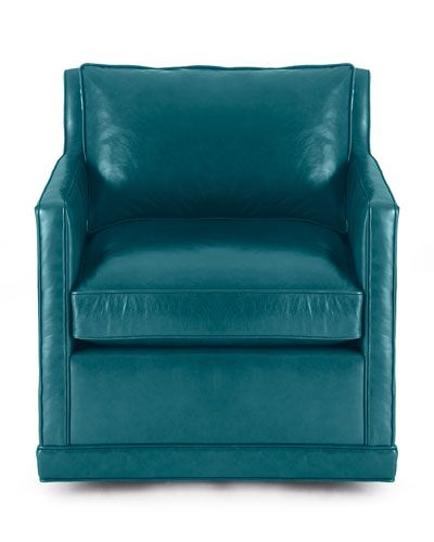 Pleasant H7Jxd Nina St Clair Peacock Blue Leather Swivel Chair Alphanode Cool Chair Designs And Ideas Alphanodeonline