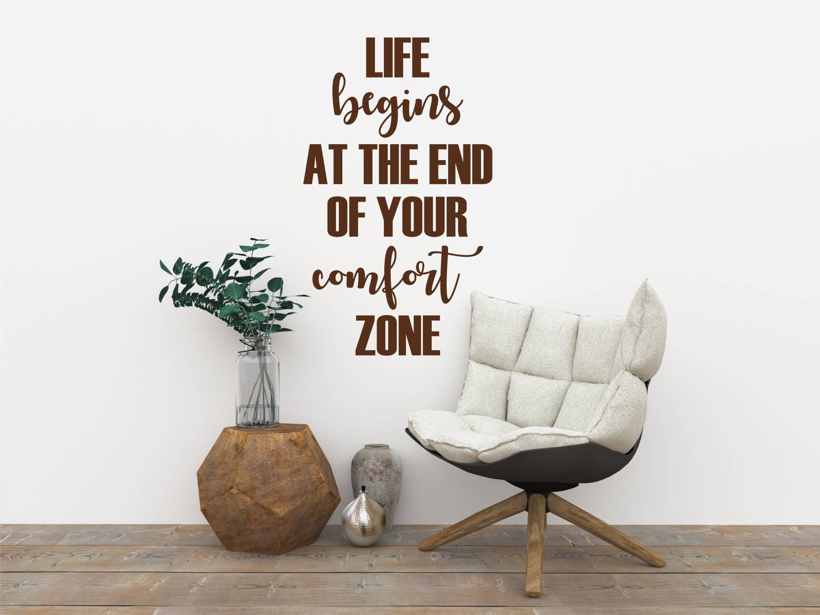 Life begins at the end of your comport zone Motivational quote wall decal for home, bedroom, office, gym   Large  wall art lettering