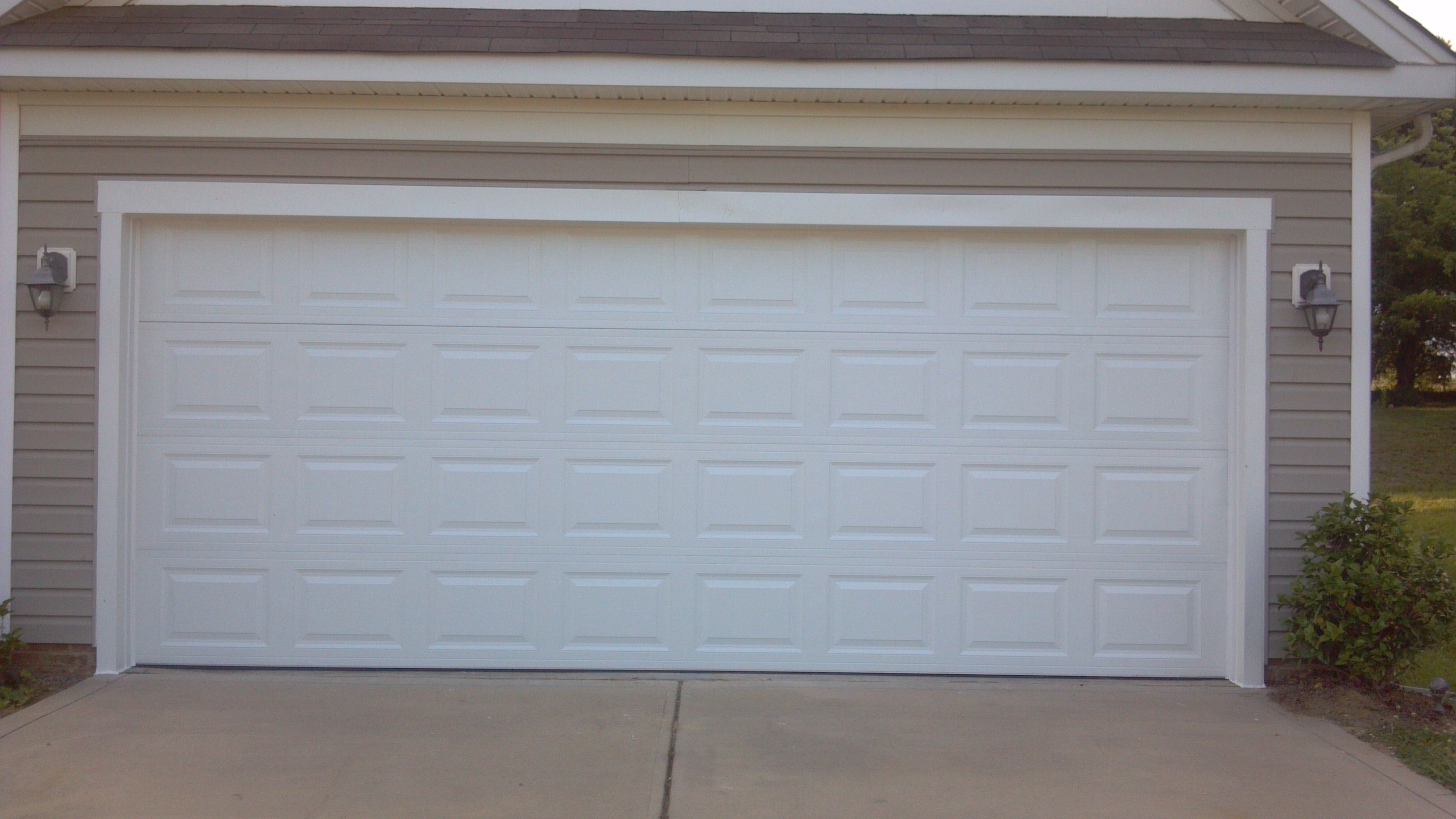 Contemporary White Wooden Garage Door