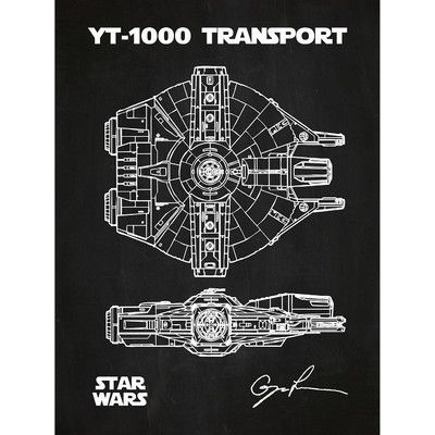 Inked and Screened Sci-Fi and Fantasy 'Star Wars Vehicles: YT 1000' Silk Screen Print Graphic Art in Chalkboard/White Ink