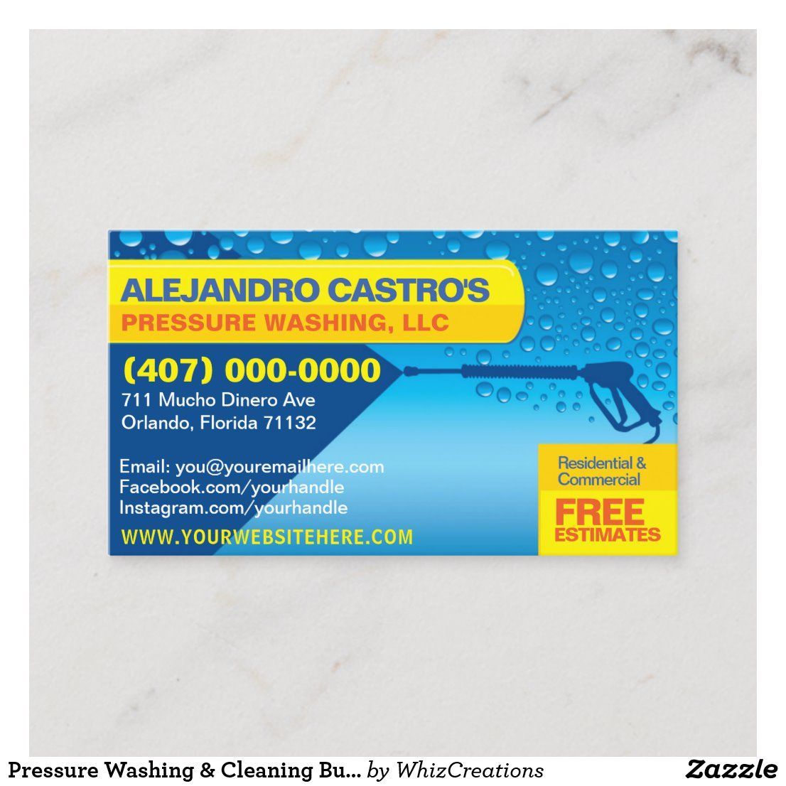Pressure Washing Cleaning Business Card Template Zazzle Com In 2020 Cleaning Business Cards Pressure Washing Business Card Template