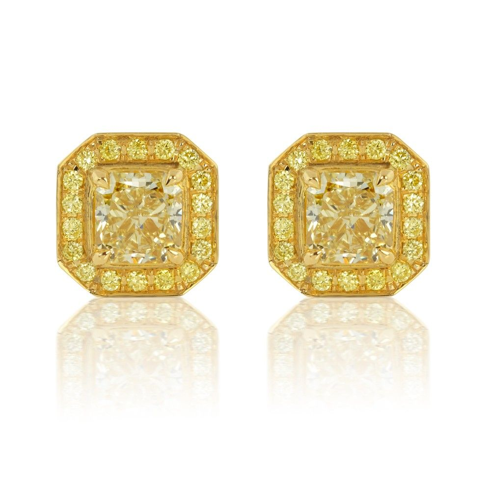 fancy ct diamond earrings yellow vivid studs tw collection stud canary
