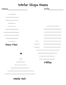 Awesome Winter Shape Poem Templates Free  Teaching Ideas