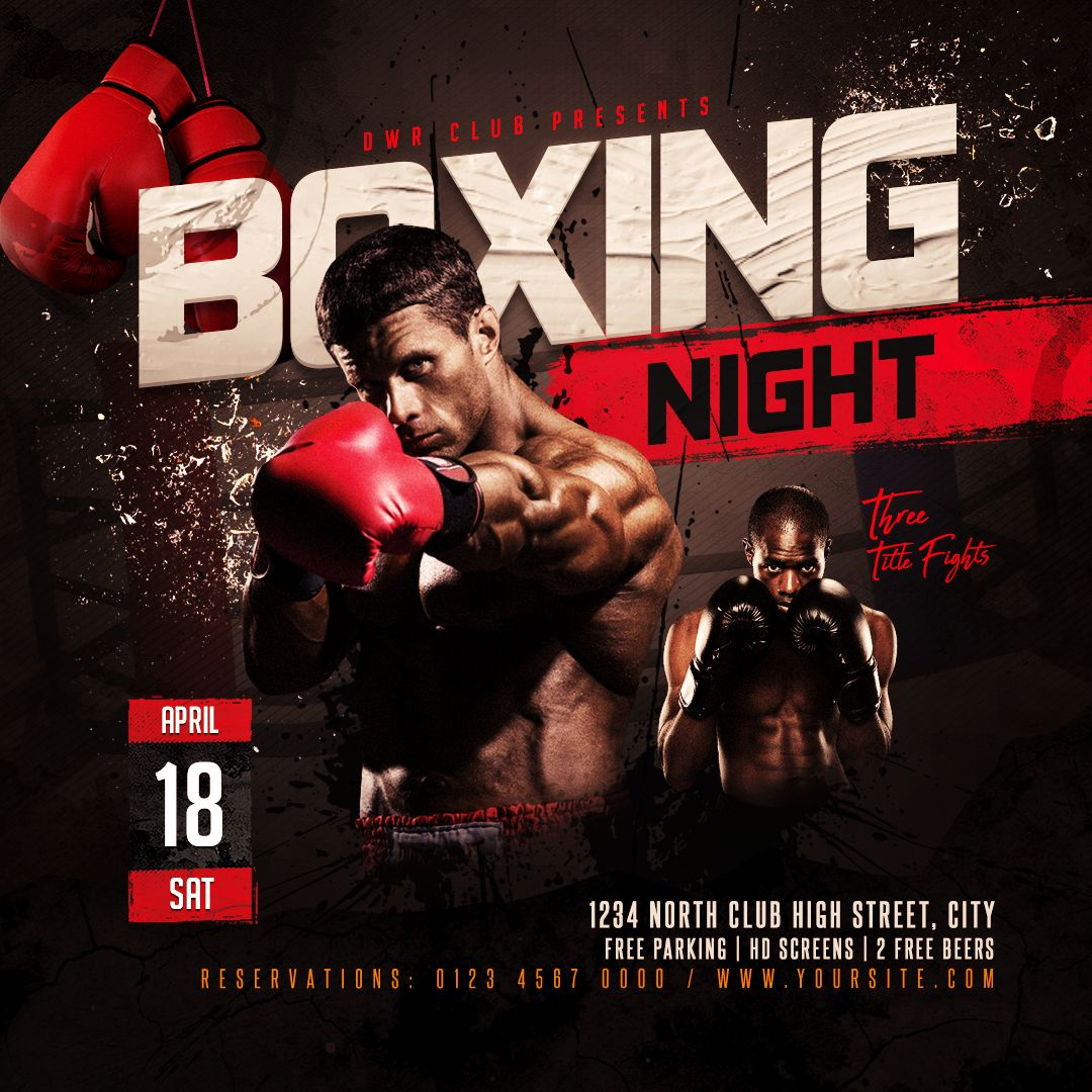 Boxing Night Flyer Easy to edit Photoshop template flyer design