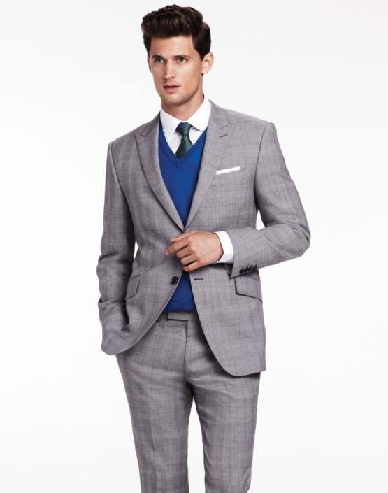 Men's Grey Plaid Suit, Blue V-neck Sweater, White Dress Shirt ...