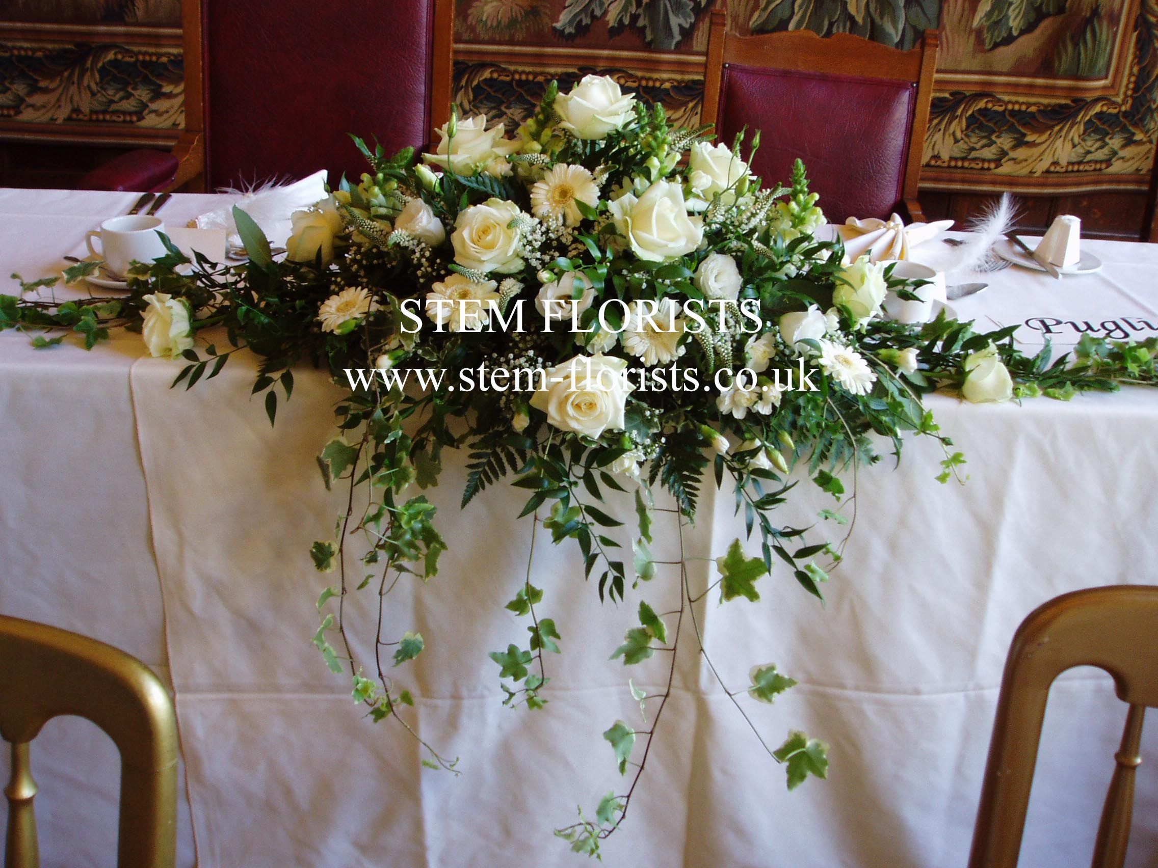 #Wedding reception #bridal #table #flowers top table white overflowing
