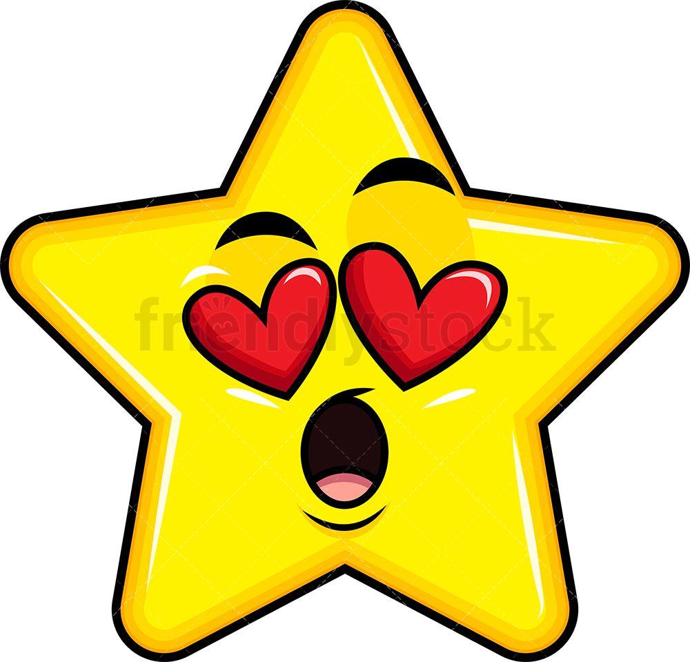 In Love Star Emoji Cartoon Clipart Vector Friendlystock In 2020 Star Emoji Cartoon Clip Art Clip Art