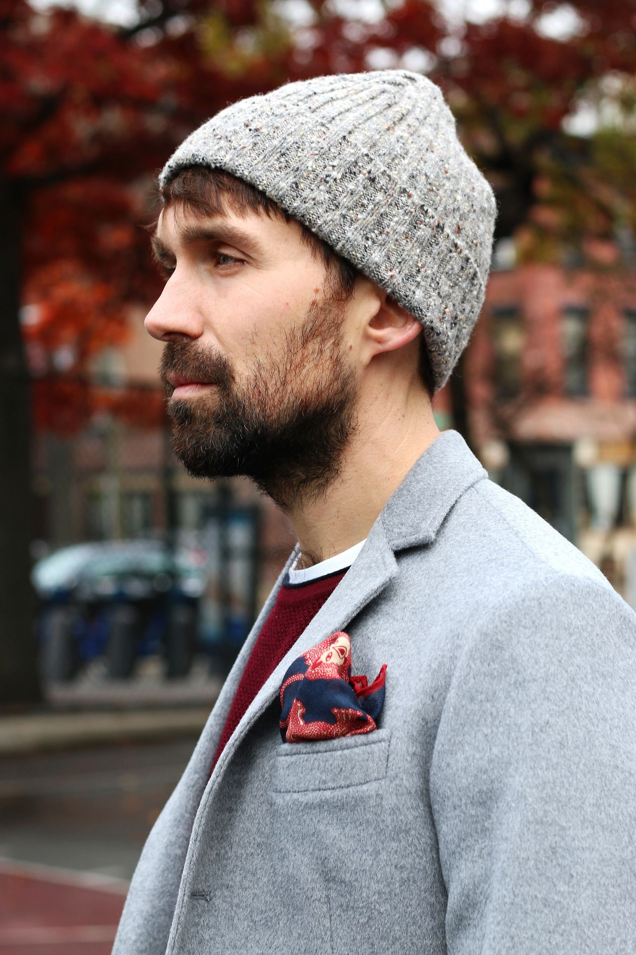 Shop the Look BROOKLYN TAILORS - Angora Wool Unstructured Blazer in Grey  DRAKE S - Merino Donegal Hat Knit in Grey with Flecks DRAKE S - Navy Lion  Print ... 196963c5798