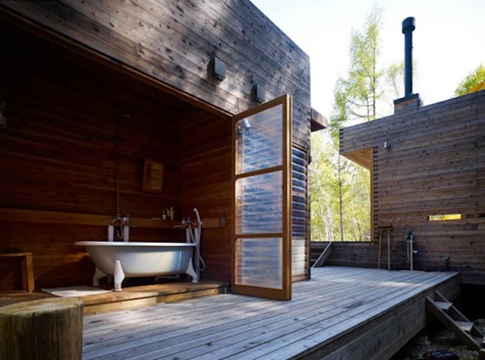 indoor outdoor bath. mountain research facility. tokyo