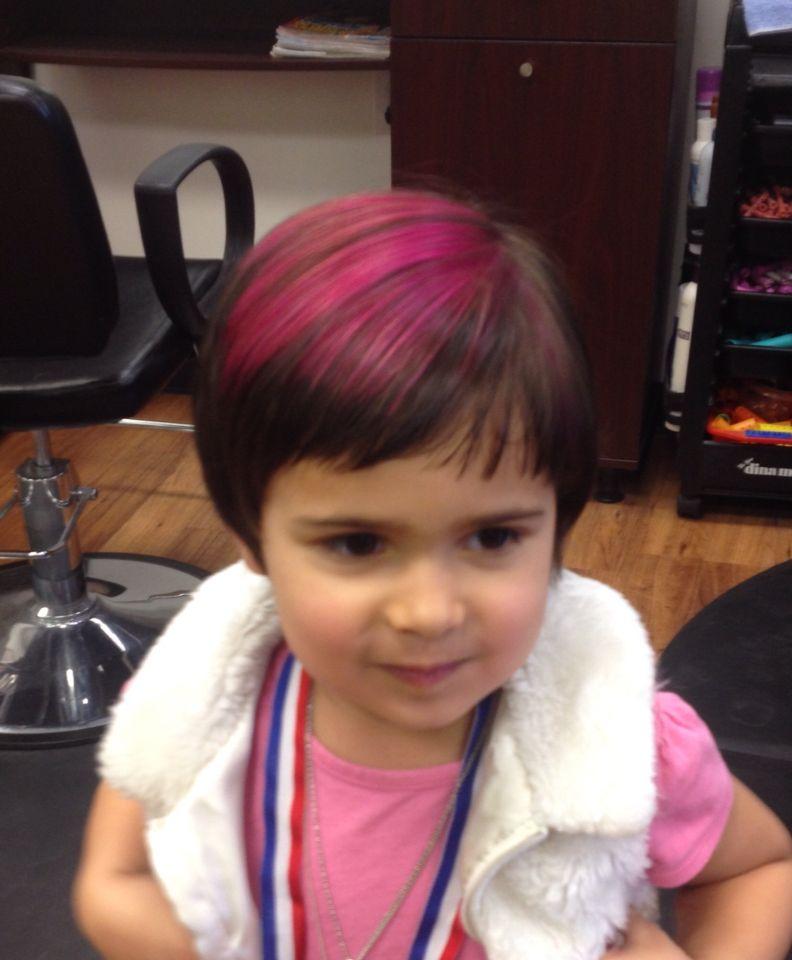 Little Girl Hair Pink Streak Short Hair Dyed Hair Little Girl Hairstyles Dyed Hair Pink Streaks