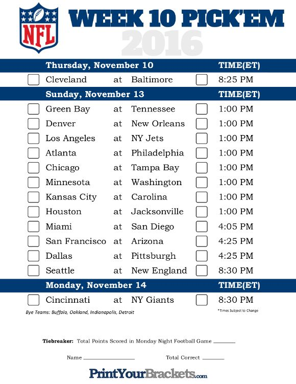 photo regarding Nfl Week 13 Printable Schedule named NFL Choose Sheet 7 days 10 Printable NFL 7 days 10 Program Select