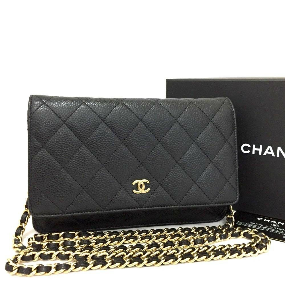 213eda3f9c42  FORSALE CHANEL Quilted CC Logo Black Caviar Skin Wallet On Chain WOC  Shoulder Bag  rr83 -  1425