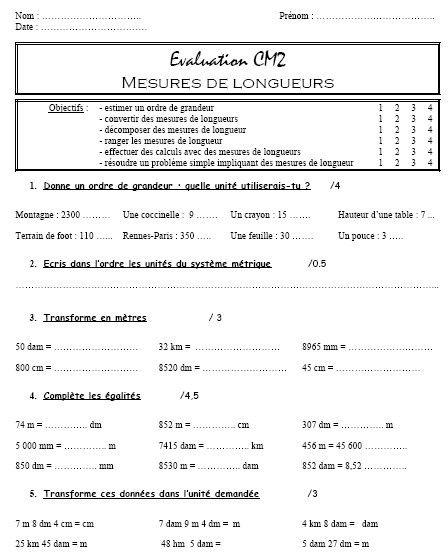 Evaluation CM Mesures de longueur | Mesure de longueur, Evaluation cm2 et Evaluation cm1