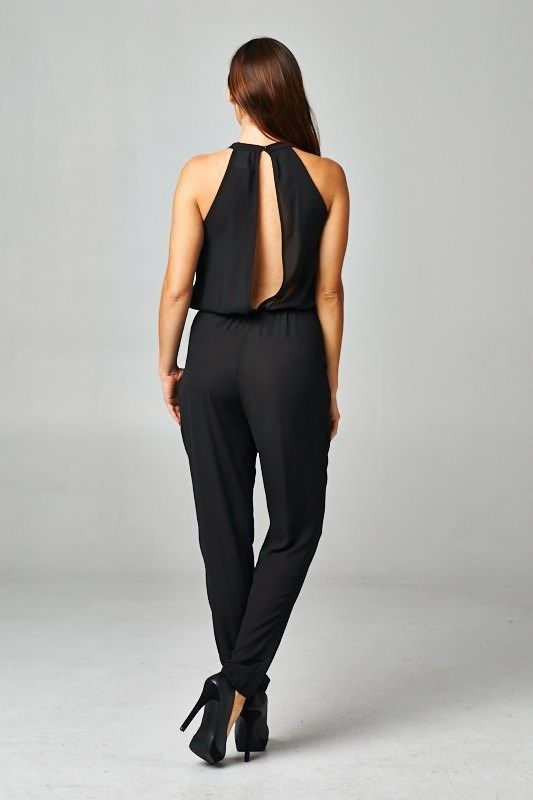 New & Chic Women's Juniors Sexy Open Back Jumpsuit/ Romper  Large #LineUp…