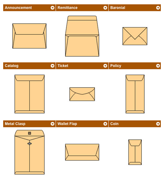 types of envelopes  names  descriptions  and dimensions