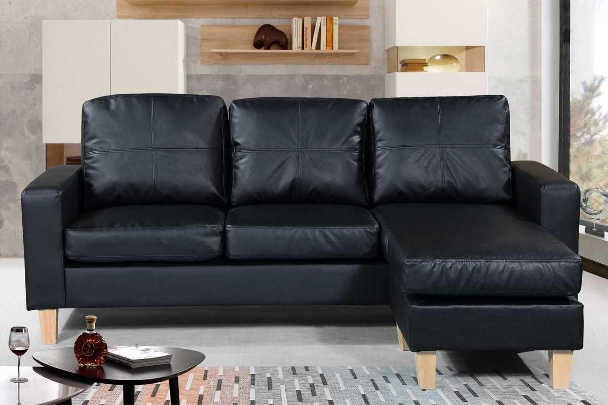 Admaston Black Faux Leather Small 3 Seater L Shaped Corner Sofa
