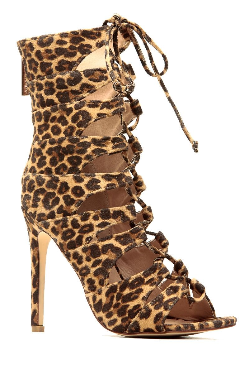 7f37015fa74a Leopard Faux Suede Lace Up Single Sole Heels   Cicihot Heel Shoes online  store sales Stiletto Heel Shoes