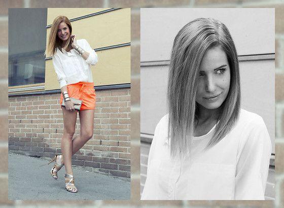 The Sense Oversize Silver Cuff, Zara White Shirt, H Neon Orange ...