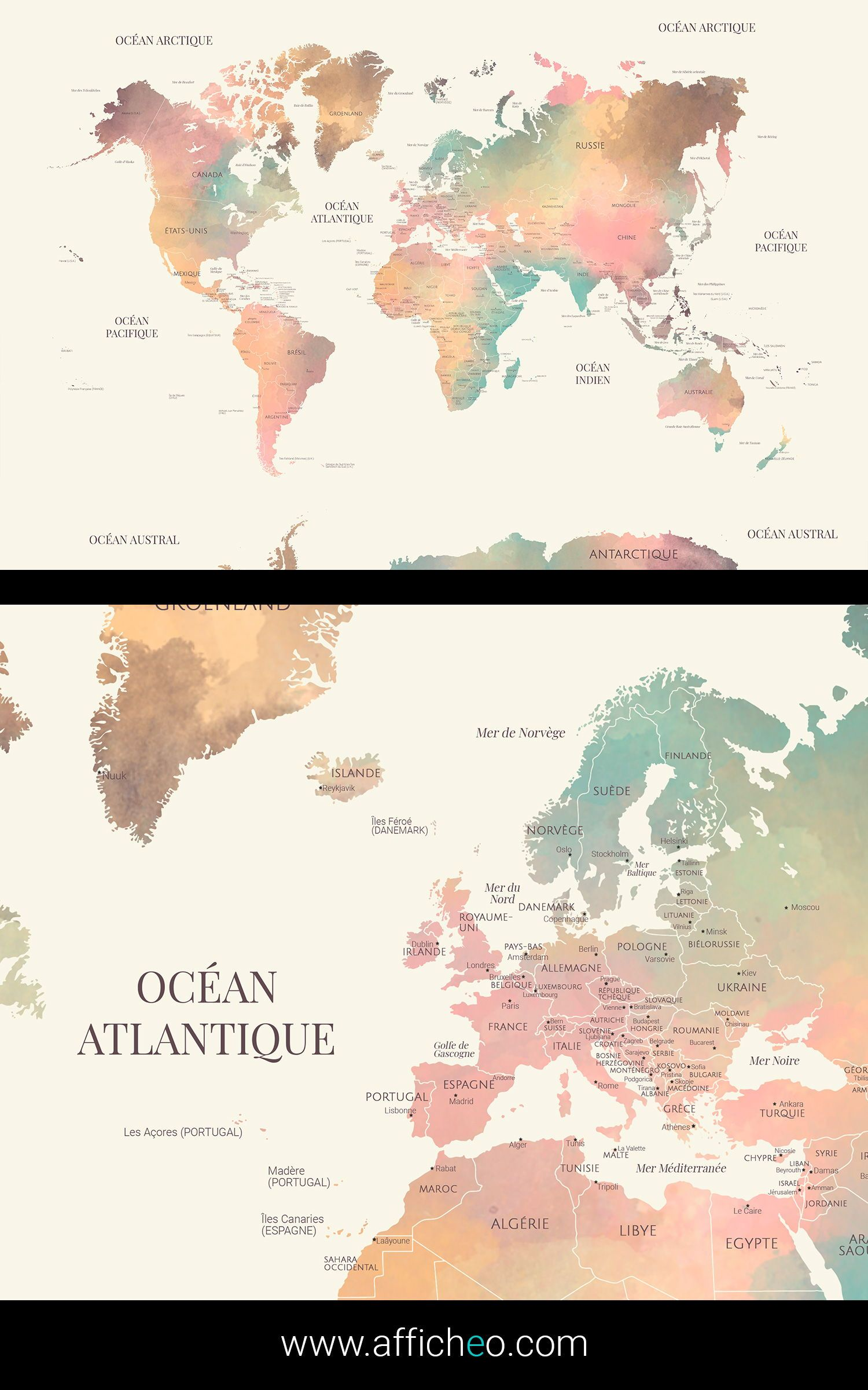 Carte Du Monde Grand Format : carte, monde, grand, format, World, English, Countries, Borders, Their, Capitals,, Colorful, Watercolor, Effect., Walls,, Effects